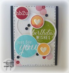 Card by Amber Hight. Reverse Confetti stamp sets: Roundabout and roundabout additions. Confetti Cuts: Envie Wrap. Birthday card.