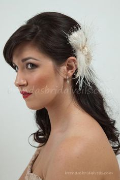 Birdcage Veil With Flower, Champagne Wedge Birdcage Veil with Champagne and Ivory Feather Fascinator Fresh Water Pearl Center