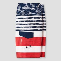Boys' Americana Floral Boardshort Blue/White/Red 10 - NO Fear, Boy's, Blue Red White