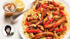 Merguez and chicken couscous from Josée di Stasio Chicken Couscous, Sweet Red Pepper, Boneless Chicken Thighs, Couscous Recipes, Spicy Sausage, Grilled Vegetables, Recipe Details, Peppers And Onions, Sweet And Spicy