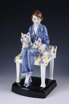 Art Deco Goldscheider Figurine of Girl on Chair