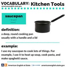 Vocabulary: Kitchen Tools - saucepan