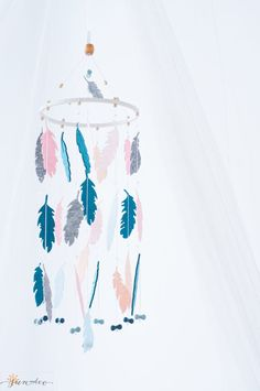Blue Pink Gray Mobile  Feather Mobile  Dream Catcher by SUNandCo