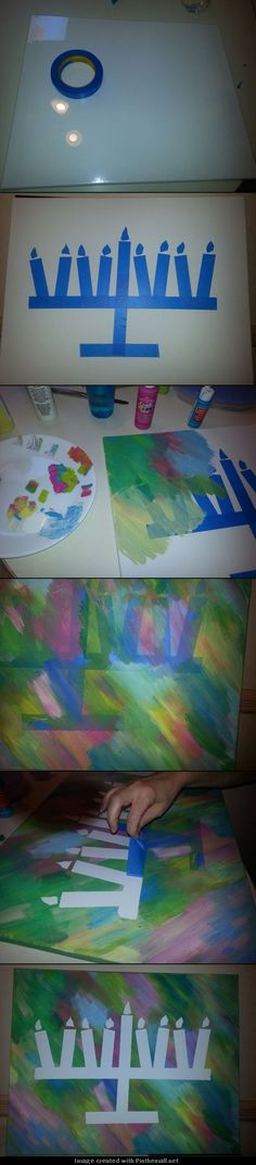DreidelJams! DIY Hannukah Art Project. Grab any size canvas and some painter's tape. Create your image out of the tape by pressing it firmly onto the canvas in your shape of choice. Apply acrylic paint -- get creative --don't be afraid to sway from blue! Allow paint to dry thoroughly and carefully remove the tape. Voila! Beautiful Hannukah art! Apply spray-on clear coat to seal and shine! Special thanks to Pinner Monique Armann for documenting her project for us!