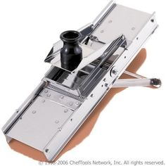 Bron Professional Stainless Steel Mandoline Slicer with Stainless Steel Pusher by Bron Coucke, http://www.amazon.com/dp/B001AMGQ78/ref=cm_sw_r_pi_dp_bcxPrb0NFK7GJ