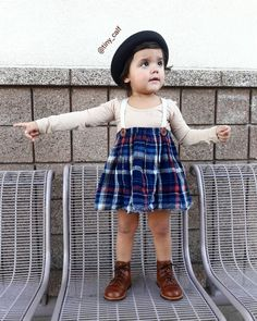 Baby/ toddler winter fashion outfits. Baby/ toddler fall fashion outfits. Plaid Suspended/ suspender skirt from Little People Rocx. Target bowler hat. Leotard. Mikoleon boots. Docs. Dr. Martens. Doc Martens.