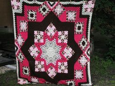 Pink Star Afghan Quilt
