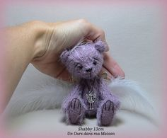 Shabby ourse-ange d'artiste miniature 13cm collection