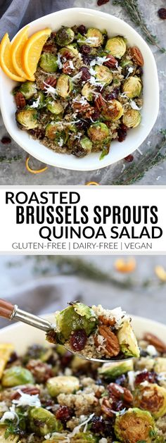 Roasted Brussels Sprouts Quinoa Salad | gluten-free healthy recipes | vegan healthy recipes | dairy-free healthy recipes | Brussels sprouts recipes | healthy quinoa salad | healthy salad recipes || The Real Food Dietitians #quinoasalad #brusselssprouts #glutenfree