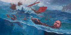 Pablo y otros nadan o flotan agarrados de las piezas de un barco que se hunde en la costa de Malta