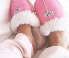 Pink Uggs slippers!! I need these in my life!!