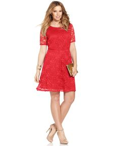 Love Squared Plus Size Short-Sleeve Lace A-Line Dress - Dresses - Plus Sizes - Macy's