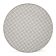 Assiette plate à motifs gris Gris - Helyse - Les assiettes plates - Assiettes - Arts de la table - Décoration d'intérieur - Alinéa