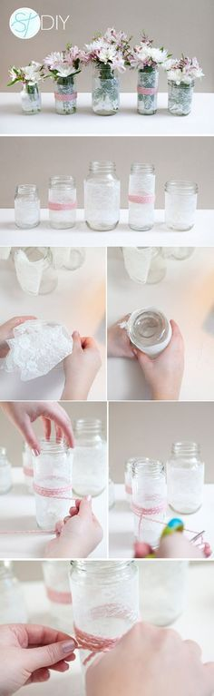 diy lace covered mason jars wedding  / http://www.himisspuff.com/diy-wedding-centerpieces-on-a-budget/15/
