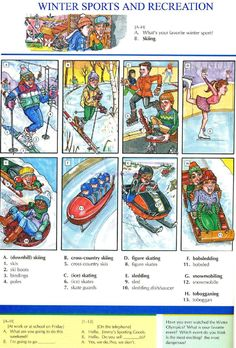 102 - WINTER SPORTS AND RECREATION - Pictures dictionary - English Study, explanations, free exercises, speaking, listening, grammar lessons, reading, writing, vocabulary, dictionary and teaching materials