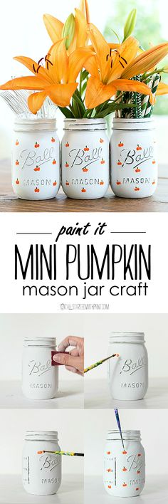 Painted Pumpkin Mason Jar Craft - Fall Mason Jar Craft Idea - Pumpkin Craft Idea - Halloween Mason Jar Craft Idea - Halloween Craft Idea @itallstartedwithpaint.com