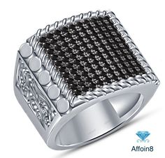 1.10Ct Round Diamond 14K White Gold Fn 925 Silver Men's Wedding Engagement Ring #affordablebridaljewelry #MensWeddingRing