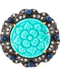 Gemco turquoise and diamond flower cocktail ring