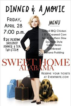 Join us Friday, April 28* for a Traditional Southern Supper and a Hilarious Romantic Comedy starring Reese Witherspoon, Patrick Dempsey, and Josh Lucas along with Candice Bergen, Mary Kay Place, Fred Ward, and Jean Smart. Purchase your tickets NOW - https://dinner-and-a-movie.eventbrite.com *PLEASE NOTE: APRIL'S DINNER & A MOVIE IS THE FINAL FRIDAY OF APRIL!! We have also pushed back our starting time due to longer daylight during this time of year, so please also note doors now open at 7:00…