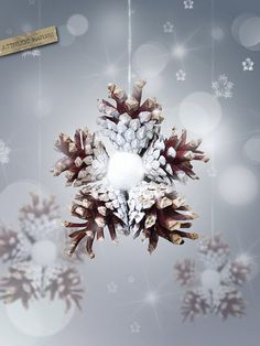 pommes de pin, neige artificiel, ruban, colle