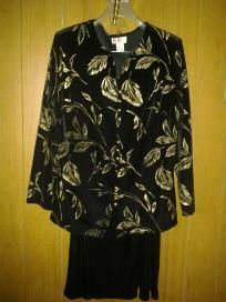 """R dress 4woman v pretty velevet suit size 16w f 4 $29.99 with golden flower stretch chest 48"""""""