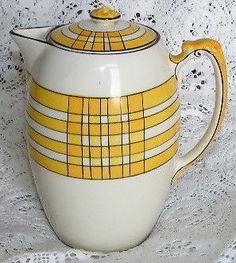 Crown  Devon  Fieldings  c1930 s  Art  Deco  Coffee / Hot  Water Yellow  & Black