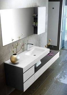 Contemporary style single wood-product vanity unit with drawers with mirror MAKING SLATE By Fiora Bedroom False Ceiling Design, Bathroom Interior Design, Washbasin Design, Contemporary Living Room Furniture, Vanity Design, Vanity Units, Bathroom Furniture, Wooden Furniture, Outdoor Furniture