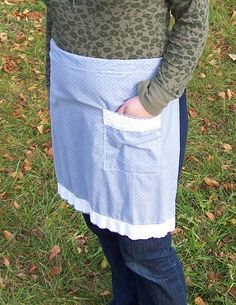 Ladies' Half Apron Light Chambray Blue with by beforeNafterdesigns