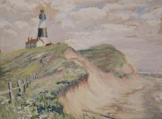 """William Oliver Stevens """"Sankaty Head Light"""", Mixed Media on Paper 