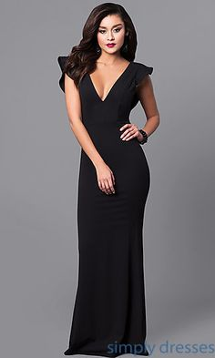 V-Neck Long Prom Dress with Open Back and Ruffle