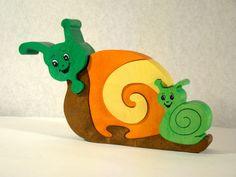 Maman escargot et son bébé, puzzle 3D en bois 5 pièces