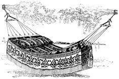 vintage hammock clip art, black and white clipart, vintage summer printable, jacquard design hammock, antique hammock illustration Vintage Scrapbook, Clipart Vintage, Printable Vintage, Free Printable, Silhouette Vector, Art World, Vintage Images, Embroidery Patterns, Vintage Shops