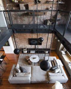Home Interior Loft Industrial Style 32 Ideas Loft Interior Design, Industrial Interior Design, Industrial Living, Industrial Interiors, Loft Design, Küchen Design, Interior Design Inspiration, Interior Architecture, Design Ideas