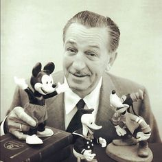 Walt Disney with Mickey Mouse, Donald, Goofy