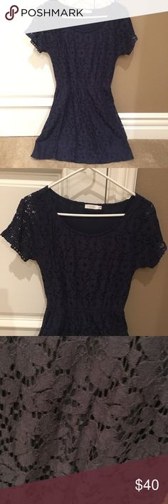 Lush: Navy Blue Lace Dress Worn only once. Great for casual or semi-formal occasions. Pair with a black leather jacket & black booties :) Bought it from Nordstrom! Lush Dresses