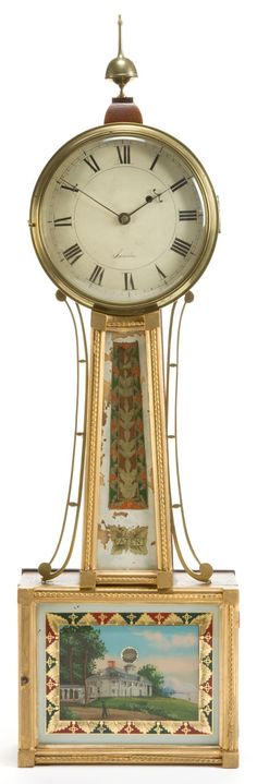 A WILLARD PATINATED BRONZE, WOOD, AND REVERSE PAINTED GLASS BANJO CLOCK  Boston, Massachusetts, 19th century  Marks to face: Lawin