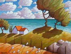 Seaside Windy Ocean Waves 5x7 Art Print Coastal Summer