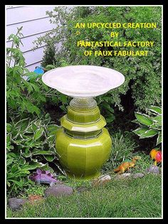 """Green Urn"" Bird Bath"