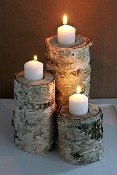 Porta velas de troncos