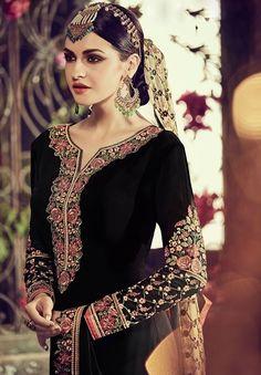 Women's Clothing Clothing, Shoes & Accessories Indian Punjabi Patiyala Salwar Suit Pakistani Designer Fancy Black Salwar Kameez Pleasant In After-Taste