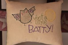 Primitive Stitchery Pillows Bowl Fillers Ornies Tucks Fall Halloween Bat Batty Moon. $7.99, via Etsy.