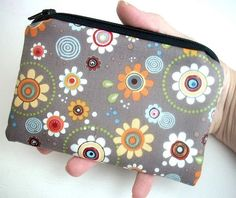 Flower Zipper Pouch Coin Purse Padded Eco Friendly by JPATPURSES, $8.00