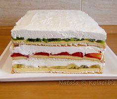 Ledeni vjetar, torta sa jagodama, bananom i kiwiem Torte Recepti, Kolaci I Torte, Torte Cake, Dessert Cake Recipes, Different Cakes, Just Cakes, Savoury Cake, Homemade Cakes, Tray Bakes