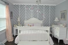 Gray and White Herringbone Accent Wall in a Big Girls Room - so chic and pretty!