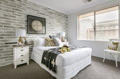 Grey brick wallpaper as seen in Homebuyers Centre Display Home - Ellenbrook, WA Australia