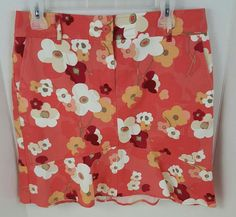 Women's 8 Ann Taylor Loft stretch skirt floral cotton spandex blend coral ruffle | Clothing, Shoes & Accessories, Women's Clothing, Skirts | eBay!