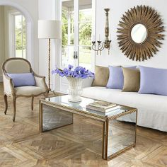 Wisteria - Furniture - Shop by Category - Coffee Tables - Antiqued Art Deco Coffee Table Lavender Living Rooms, Art Deco Coffee Table, Coffe Table, Mirrored Coffee Tables, Mirrored Table, Bedside Tables, Traditional Furniture, Living Room Inspiration, Home And Living