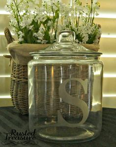 This is a great idea for wedidings!  Can put initial on vases, etc.  Red Tin Barn www.redtinbarn.com DIY Etched Glass