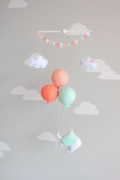 Mint and Coral, Baby Mobile, Elephant and Balloon Mobile, Travel Theme, Nursery… Travel Theme Nursery, Nursery Themes, Nursery Decor, Girl Nursery, Girl Room, Dumbo Nursery, Baby Mobile, Nursery Inspiration, Nursery Design