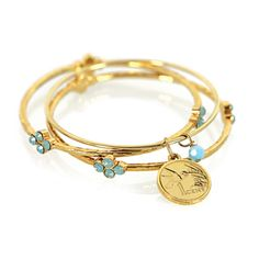 Gold Overlay Hummingbird Coin Bangle Bracelet Set   Overstock.com